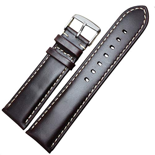 Handgemachte Genitalsit-Watchstrap-Lins147 Armbanduhr Uhrenarmband aus echtem Leder 18 19 20 21 Damenuhren 22 24 mm Schwarz Dunkelbrauner Handgelenksgürtel Armband Stahl Dornschließe -