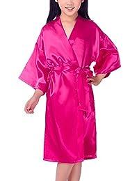 Dolamen Kinder Mädchen Morgenmantel Kimono Satin Nachtwäsche Bademantel Robe Pure Farbe Negligee Schlafanzug Schwimmen Hochzeit Geburtstag