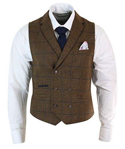 Cavani Gilet Double Boutonnage Style Peaky Blinders Vintage Tweed Carreaux Chevrons Homme