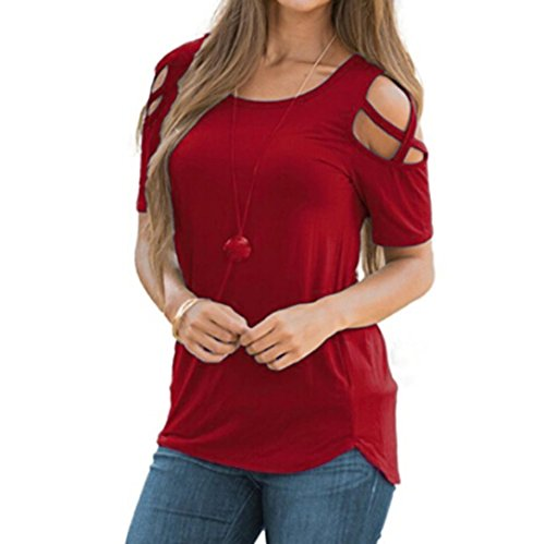 VEMOW Frauen-Dame-Sommer-beiläufige Tägliche Kurze Hülsen-Riemchen-Kalte Schulter-T-Shirt übersteigt Blusen-T-Stücke Pullover (EU-46/CN-XL, Weinrot) (Tunika Pullover Schulter)