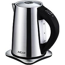 Aicok Edelstahl Wasserkocher mit Temperatureinstellung 40,60,70,80,90 und 100 Grad, elektrische Wasserkessel mit Warmhaltefunktion, Kessel mit Automatischer Abschaltung, 2200 Watt, 1,7 Liter, Schwarz