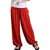 Aivtalk - Pantalones de Pierna Ancha Bombachos Pantalones Harem de Lino para Mujeres Yoga Fitness Vida Cotidiana Casual Simple - Rojo Gris Verde Azul Rosa Marrón - Talla M L
