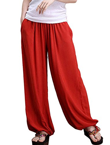 Aivtalk - Yoga Pantaloni Estate Larghi di Lino per Donna Womens Soft Yoga Sport Dance Pants Pantaloni Harem Molto Morbido Rosso