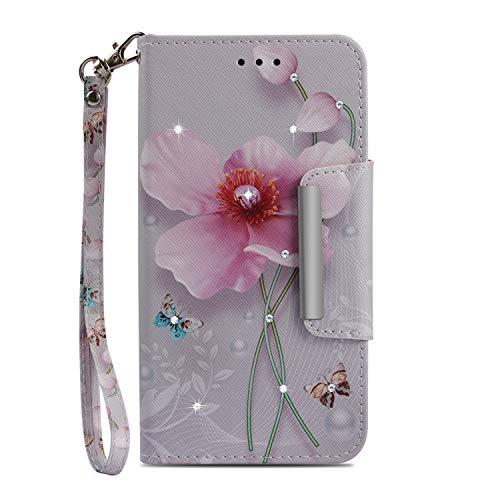 ZCXG Huawei Mate 10 Lite Handyhülle Glitzer Panda Katze Cover Leder Wallet Case Handy Schutz Klar Stoßfest Diamant Kartenfächer Kickstand Flip Case Magnetverschluss #Pink Flower Butterfly Pink Butterfly Handy