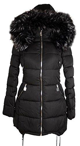 Damen XXL Fell Kapuze Winter Jacke warm gefüttert Parka Ballon Mantel 36 38 40 42 44 46 S M L XL Coat Schwarz Steppjacke Anorak (46) Ballon-mantel
