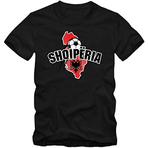 Albanien EM 2016 #1 T-Shirt | Shqiperia | Fußball | Herren | Kuq e zinjtë | Trikot | Nationalmannschaft, Farbe:Schwarz (Deep Black L190);Größe:XL
