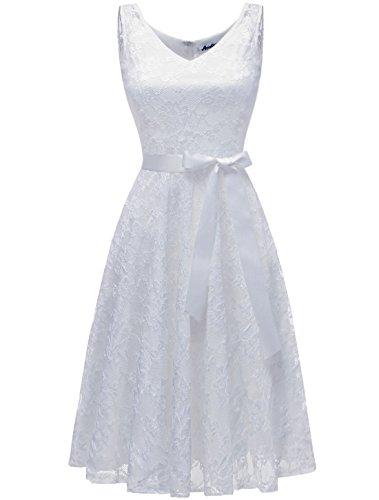 AONOUR AR8008 Damen Floral Spitze Brautjungfern Party Kleid Knielang V Neck Cocktailkleid White XL
