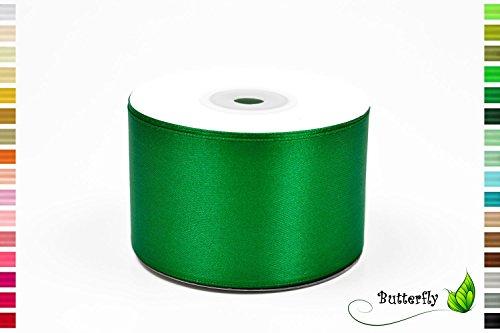 25m Rolle Satinband 50mm ( grün 580 ) // Schleifenband Deko Band Geschenkband Dekoration Hochzeit Taufe Geburtstag Dekoband einseitig 5cm