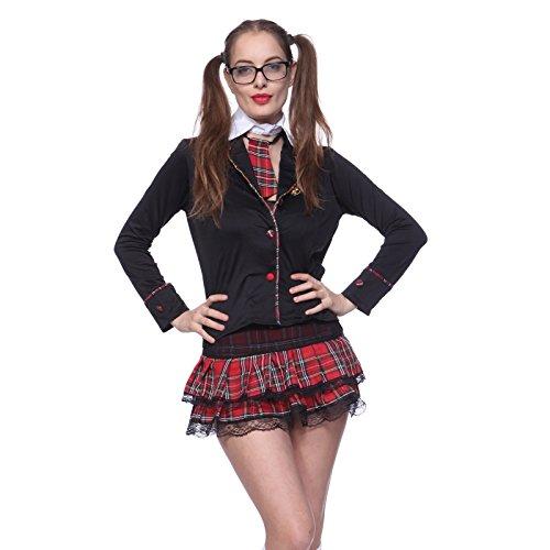 Gr.L Sexy Schulmaedchen Cheerleader Jacke Netzkleid school uniform Kaneval Kostuem Set