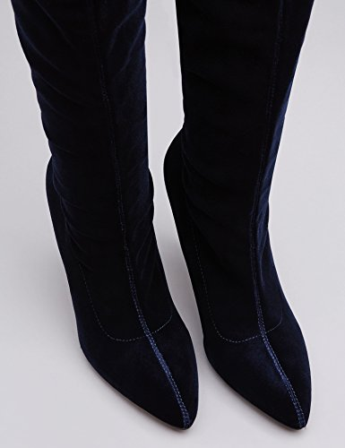 FIND Stivali Alti Stretch in Velluto Donna Blu (Navy)