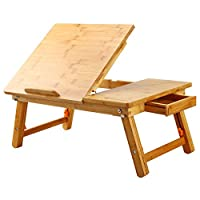 ‏‪Laptop Desk Nnewvante Table Adjustable 100% Bamboo Foldable Breakfast Serving Bed Tray w' Tilting Top Drawer‬‏