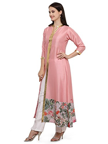 Flared Centre Slit Floral & Metallic Gold Detail Kurta