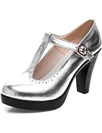 Easemax Damen Rund Zehe Metall Quaste Glitzer Plateau Stilettos Pumps Silber 32 EU 47qwn4Xg0S