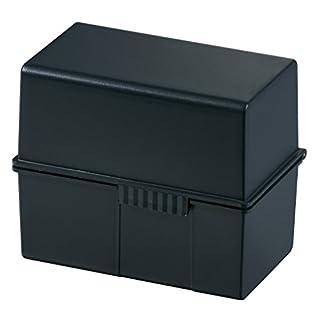 HAN Karteikartenbox DIN A6 976-13 in Schwarz für 400 Karteikarten im Querformat / Aufbewahrungsbox aus Plastik mit Deckel & Stahlscharnier / für Schule & Büro