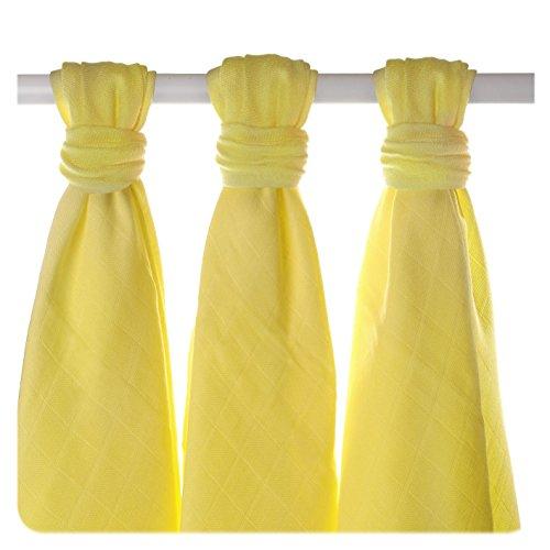 XKKO bmb07 0016 a Lot de 3 couches à langer Bambou, allaiter, comme tapis ou couverture légère, couches 70 x 70 cm, jaune