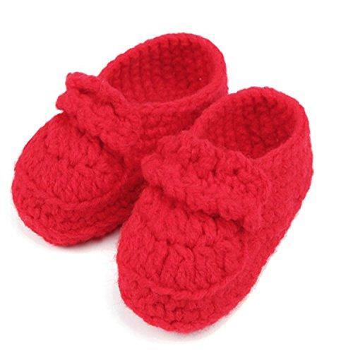 Babe Mall Inc® Chaussures Chaussettes Chaussons rouge pour bébé nouveau-né infantile Fille Garçon Tricoté en crochet à main confortables rouge