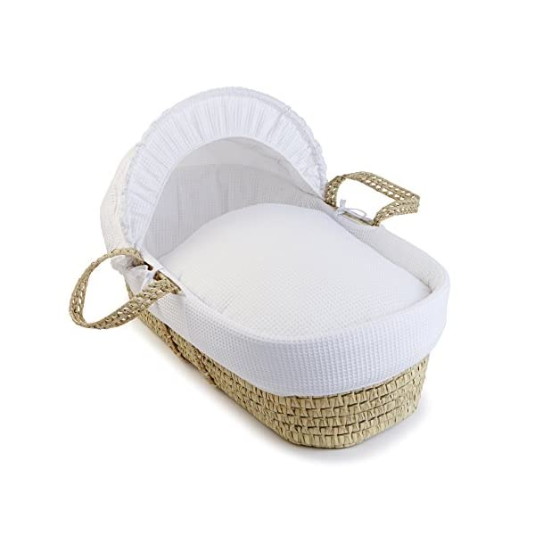 Waffle Palm Moses Basket - White  Breathable Waffle cotton dressings are super soft next to your baby's skin. Comes complete with two carry handles, adjustable hood, 2.0 tog coverlet & mattress. Quality hand-woven palm Moses basket, a lightweight & sturdy design 1