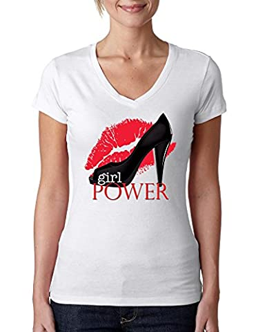 Girl power funny slogan Women's V-Neck T-Shirt Medium