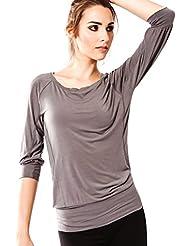 Camiseta Fitness para mujer, Ananda de Sternitz, Tela de Bambú - Ecológica y Suave - Perfecta para Yoga/Pilates/Deportes. Cuello redondo. Manga 3/4.
