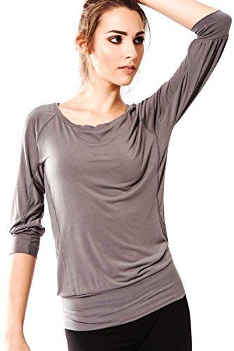 Sternitz Camisa Fitness para mujer, Ananda de, ideal para hacer pilates, yoga y cualquier deporte, tela de bambú, ecológica y suave. Cuello redondo. Manga 3/4. (S, Gris)