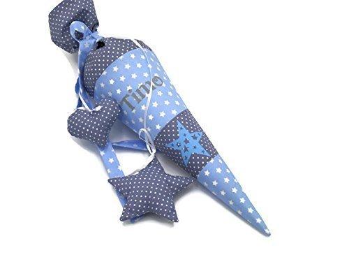 Geschwisterschultüte mit Namen Sterne Blau Zuckertüte - 2