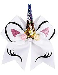 accesorios para el cabello NiceButy unicornio con una corbata de lazo atado al accesorio de pelo de unicornio de la niña, chica con banda elástica, accesorios de vestir blancas