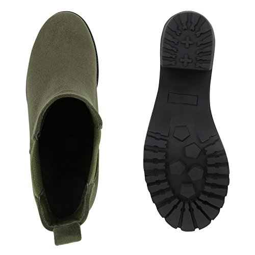 Damen Stiefeletten Chelsea Boots Profilsohle Schuhe Dunkelgrün