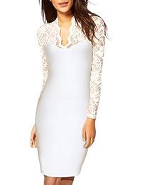 Miusol Damen Elegant Abendkleid Spitzen V-Ausschnitt Ballkleid Langarm Cocktailkleid schwarz/Weiß Gr.34-46