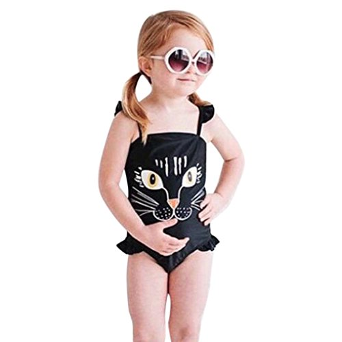 WYXlink Kids Baby Girls One Piece Cartoon Cat Print Bikini Swimwear Swimsuit Bathing Suit Beachwear