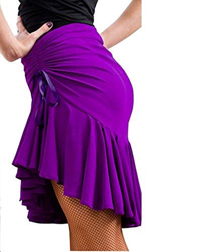 Motony Mode Latin Dance Kleid Ballsaal Tango Swing Rumba Cha Cha Rock Violett ()