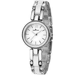 Fashion Bracelet Ceramic Strap Quartz Women Girl Wrist Watch,Silver-White