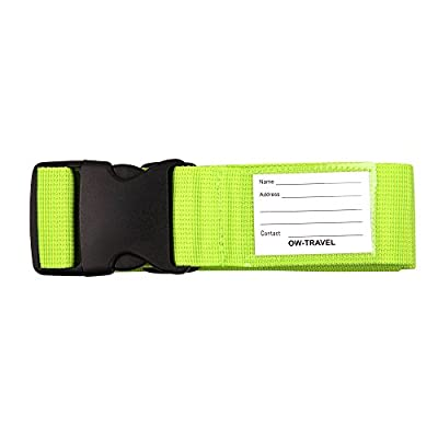 ? OW TRAVEL Luggage Strap Suitcase Belt with Personalised Baggage Claim Name Label Bag Address Tag