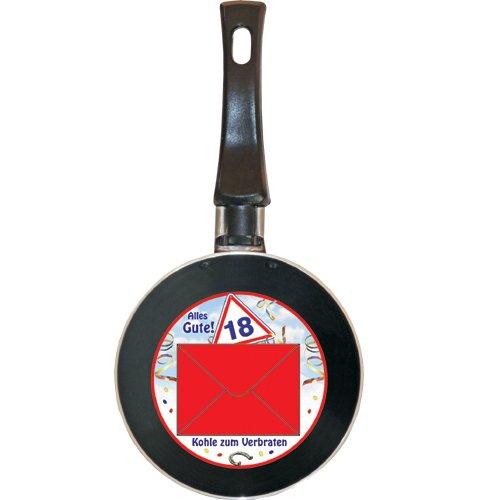 Preisvergleich Produktbild Mini Bratpfanne Alles Gute! 18 - Kohle zum Verbraten - Idee für Geldgeschenk - Pfannendurchmesser ca. 12 cm