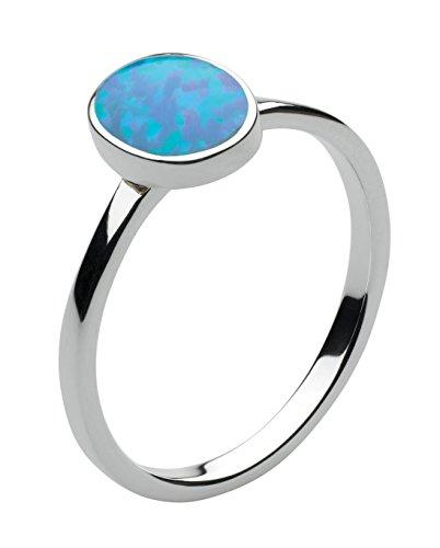 Dew - Anello in argento Sterling e opale ovale sintetico blu