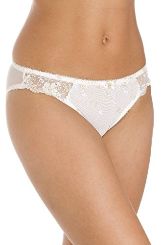 Camille Womens Ladies White and Gold Floral Brief