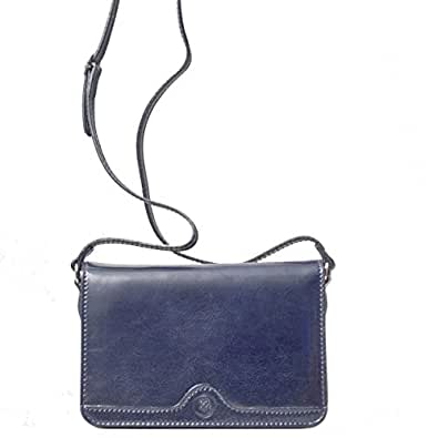 Maxwell Scott® Luxury Italian Leather Women's Crossbody Shoulder Bag (Catania), Navy