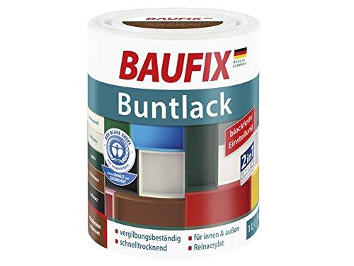 Buntlack Weißlack 2in1 Lack & Grundierung Seidenmatt 1 Liter (nussbraun)