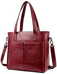 ebe71d671 Simple bolso de cuero suave, gran capacidad de retro casual bolso de mano,  bolso de solo hombro oblicuo, Classic PU…