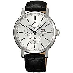Orient Men's Black Leather Band Steel Case Sapphire Crystal Automatic Silver-Tone Dial Watch FEZ09004W0