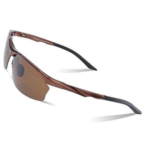 Duco polarized occhiali da sole uomo per ciclismo pesca golf unbreakable 8513s (marrone-marrone)