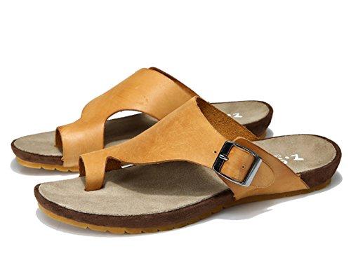 Insun Homme Cuir Sandales Piscine Et Plage Plat Sandales Nubuck Mules Chaussures Jaune