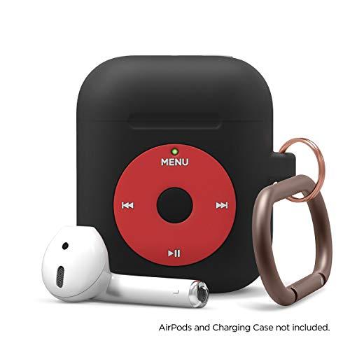 Elago AW6 Custodia AirPods Compatibile con Apple AirPods 2 & 1 - Design Classico Player Musicale, Extra Protezione, Supporta la Ricarica Wireless [Brevetto Registrato US] (con Moschettone, Nero)