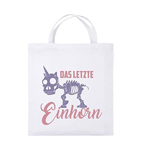 Comedy Bags - Das letzte Einhorn - SKELETTE - Jutebeutel - kurze Henkel - 38x42cm - Farbe: Schwarz / Weiss-Neongrün Weiss / Rosa-Violet