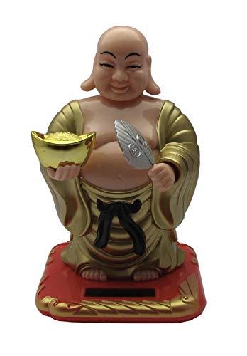 YUZHU DECO Bouddha doré Taille Petite Qui Bouge sa tête et Son éventail et avec l'énergie Solaire