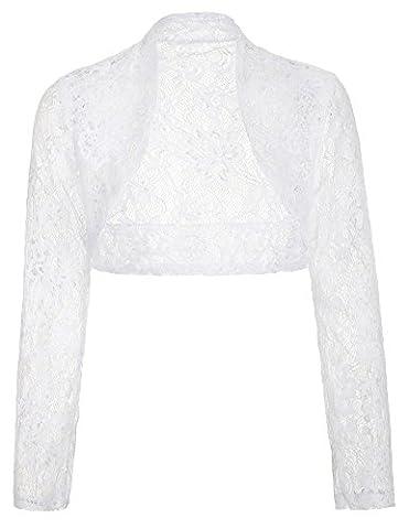 Veste Bolero à laine blanche pour femme avec manches longues BP49-2 S