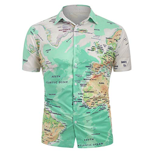 Tohole Herren Urlaub Strand Hawaii Hemd Sommer Hemd Kurzarm Hawaiishirt Freizeithemd Urlaub Hawaii Print Männer Casual World Map Print mit Knopf Shirt Top Bluse (Grün B,L)
