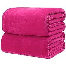 bestomz franela manta de forro polar acogedor sofá cama de color sólido manta (rosa rojo)