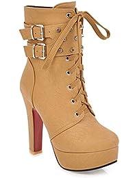 YR-R Frauen Martin Stiefel High Heel Dicke Plattform Niet Stiefeletten Für  Work Utility Schuhe 36ecaa2b78