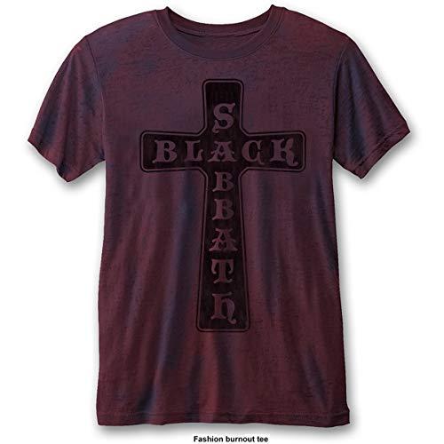 Black Sabbath Vintage Cross (Burn out) Camiseta, Blue (Blue...