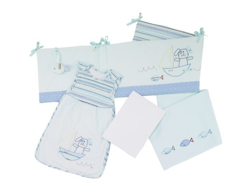 Lollipop Lane Fish and Chips New Born Bedding Bale (Baby Sleeping Bag. Cot bed Fitted Sheet. Flat Sheet and Bumper)